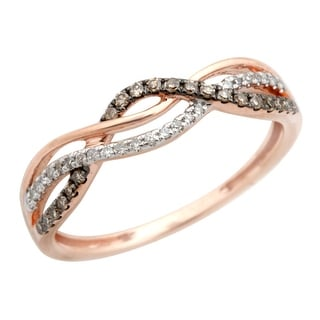 Twisted Half Eternity Anniversary Ring With Round Brilliant Cut Natural Brown & White Diamond - White I-J