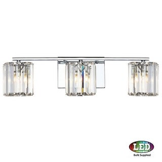 "Platinum PCDV8603LED Divine 3 Light 23"" Wide Bathroom Vanity Light with Crystal Cylinder Shades"