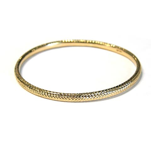 14k Gold Diamond Cut Stackable Slip On Bangle by Beverly Hills Charm
