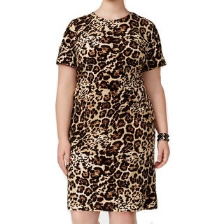 Calvin Klein Womens Plus Leopard Print Shift Dress