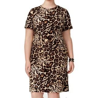 Calvin Klein Womens Plus Leopard-Print Sheath Dress