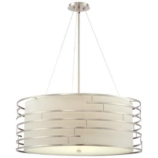 "Forecast Lighting 190216836 4 Light 32"" Wide Pendant from the Labyrinth Collection - Satin Nickel"