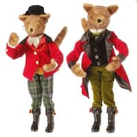 "19"" Holiday Elegance Poseable Brown Fox with Plaid Pants Table Top Christmas Figure"