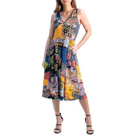 24seven Comfort Apparel Paisley Sleeveless V Neck Pocket Midi Dress, R0046181MST, Made in USA