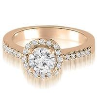 0.75 cttw. 14K Rose Gold Round Cut Diamond Halo Engagement Ring