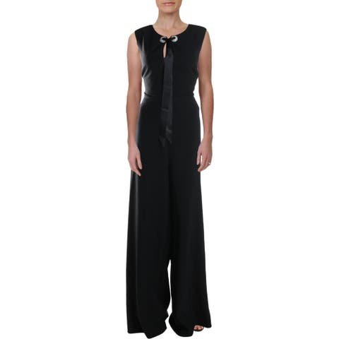 Karl Lagerfeld Paris Womens Jumpsuit Embellished Cocktail - Black - 14