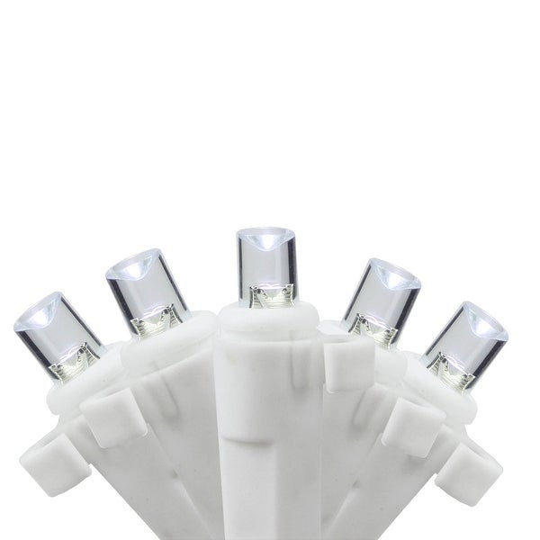 Set of 35 Pure White LED Wide Angle Icicle Christmas Lights - White Wire