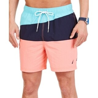 Nautica NEW Coral Pink Mens Size Large L Colorblock Trunks Shorts