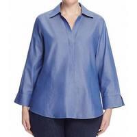 Foxcroft Blue Women's Size 10 Spread Collar Button Down Shirt