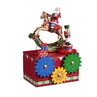 "Pack of 2 Icy Crystal Musical Santa Gear Box Figurines 8"" - RED"