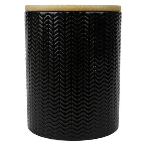 Wave Medium Ceramic Canister, Black