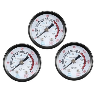 "Pressure Gauge , 0-180 PSI/0-20 BAR Dual Scale 1.4"" Dial Display , 1/8"" NPT 3pcs"