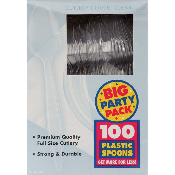 Plastic Spoons 100/Pkg-Clear - CLEAR