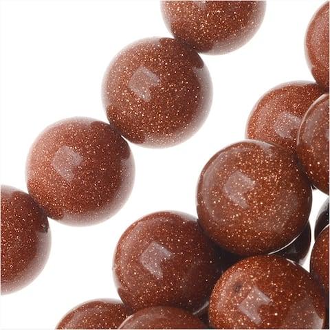 Goldstone Gemstone Beads, Round 8mm, 15.5 Inch Strand, Copper Gold