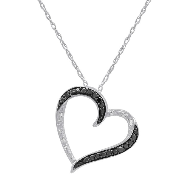 Amanda Rose Black and White 1/10ct TW Diamond Heart Pendant Necklace in Sterling Silver