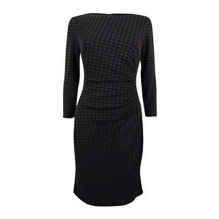 Lauren Ralph Lauren Women's Houndstooth Ponte Dress - Grey/Black