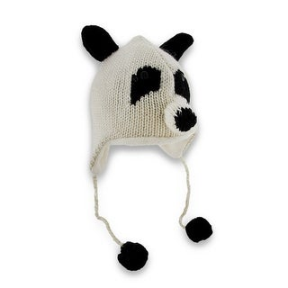 Delux Knitwits Wool Panda Face Pilot Cap W/ Pom Poms