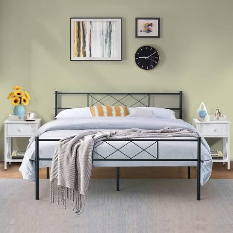 Taomika 3 Pieces Metal Platform Bed Frame with Modern Nightstands Sets