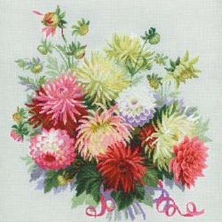 "17.75""X17.75"" 14 Count - Dahlias Counted Cross Stitch Kit"