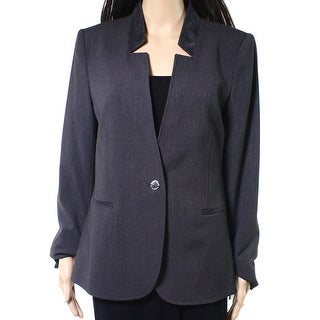 Karl Lagerfeld NEW Gray Women's 6 One-Button Faux-Suede Trim Jacket