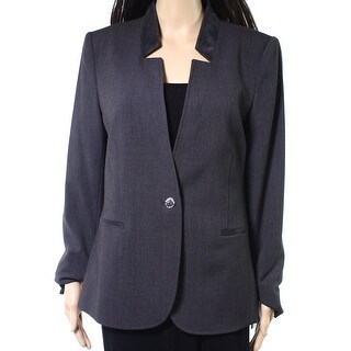 Karl Lagerfeld NEW Gray Women's 8 One-Button Faux-Suede Trim Jacket