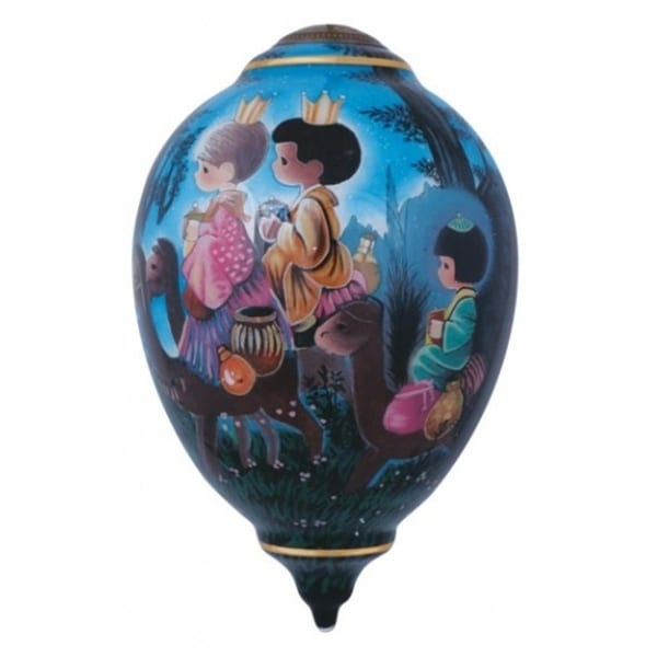 """7"""" Ne'Qwa """"Guide Us To Thy Perfect Light"""" Hand-Painted Glass Christmas Ornament #7141165"""