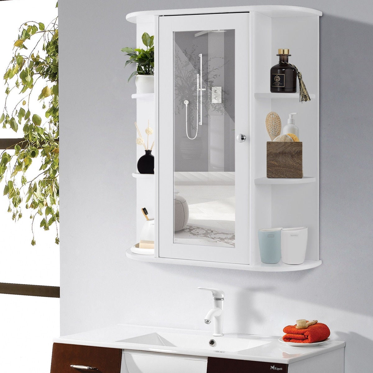 Gymax Bathroom Cabinet Single Door Shelves Wall Mount W Mirror Organizer