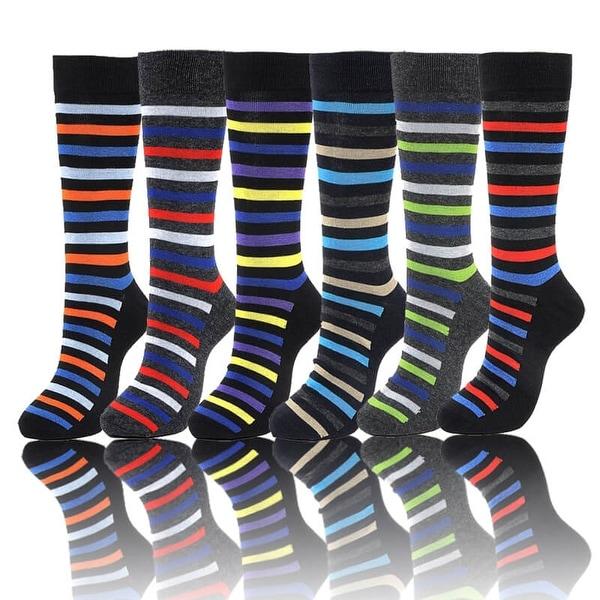 Stripes Mens Colorful Cotton Blend Designer Dress Socks (Size 10-13)