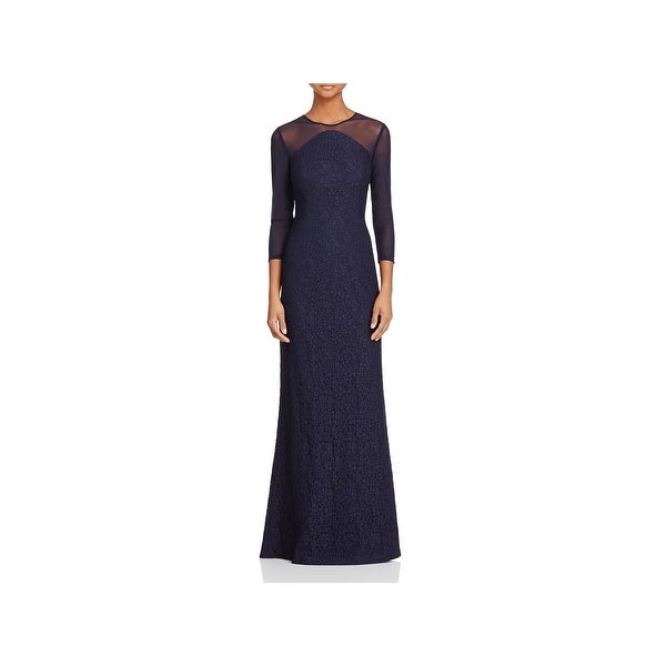 Shop Adrianna Papell Womens Evening Dress Lace Illusion - Free ...