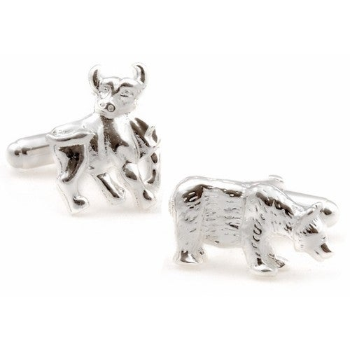 Sterling Silver Bull And Bear Cufflinks Finance Wall Street
