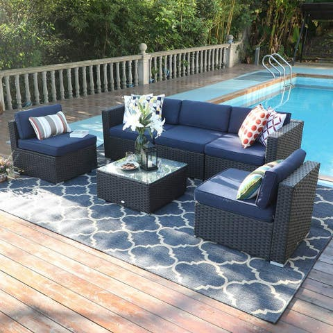 Phi Villa 6-Piece Outdoor Rattan Sectional Sofa Set with Durable and Classic Rattan