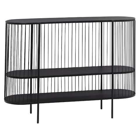 "Oval Black Metal Cage Wrapped 3 Tier Console Table 47.5"" X 33.5"" - 48 x 14 x 34"