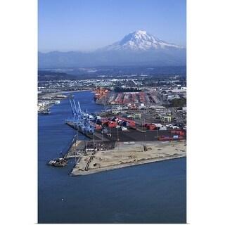 """Tacoma industrial port and Mount Rainier, Washington State"" Poster Print"