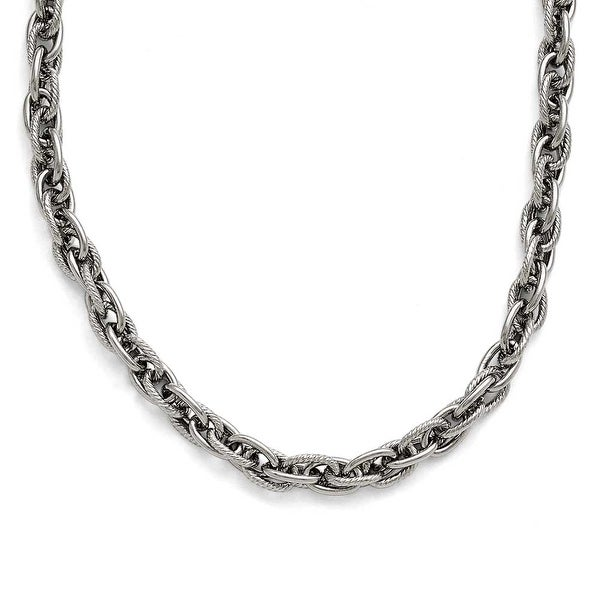 Chisel Stainless Steel Polished and Textured 5.00mm Fancy Link Chain Necklace (5 mm) - 19.25 in
