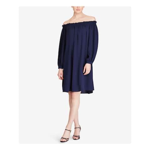 AMERICAN LIVING Navy Long Sleeve Knee Length Trapeze Dress Size 4