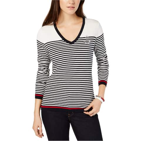 Tommy Hilfiger Womens Embellished Anchor Pullover Sweater, Blue, X-Large
