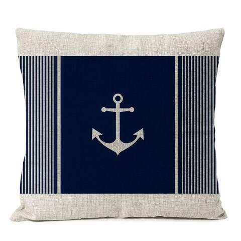 Nautical Beach Coastal Home Decorative Navy Blue Anchor Decor Pillow Cover For Couch, Sofa