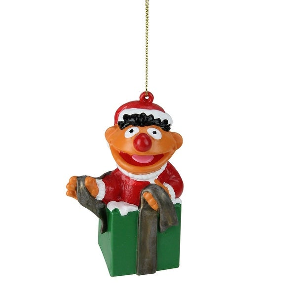 "4"" Sesame Street Ernie in a Present Christmas Ornament - RED"