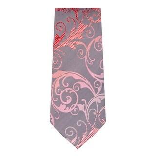 Marquis Men's Pink & Grey Paisley Neck Tie & Hanky Set TH200-030 - regular