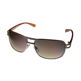 Perry Ellis Mens Sunglass PE19 2 Mens Gold Metal Aviator, Solid Brown Lens