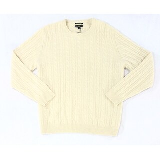 Club Room NEW Beige Mens Size Large L Cable-Knit Crewneck Sweater
