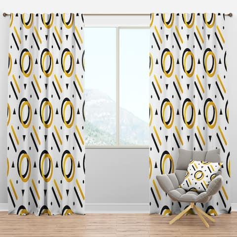 Designart 'Trendy Black And Gold Triangular Pattern I' Mid-Century Modern Blackout Curtain Panel