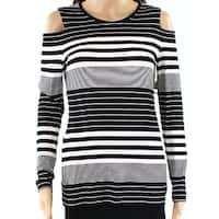 1. State Womens Large Striped Cold Shoulder Knit Top