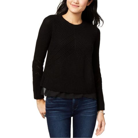 Lucky Brand Womens Nico Chiffon-Hem Knit Sweater