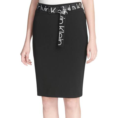 Calvin Klein Womens Logo Print Belt Skirt 10 Rich Black