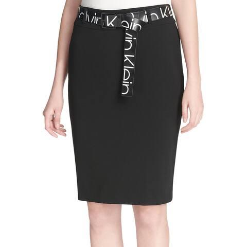 Calvin Klein Womens Logo Print Belt Skirt 14 Rich Black