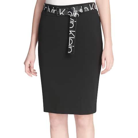 Calvin Klein Womens Logo Print Belt Skirt 6 Rich Black