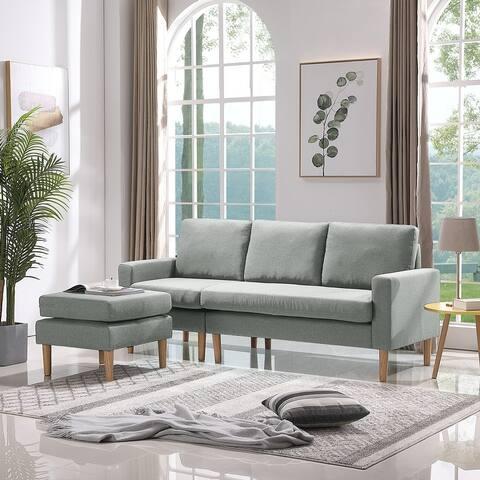 """Sectional sofa left facing light fabric sofa - 8'9"""" x 12'9"""" - 8'9"""" x 12'9"""""""
