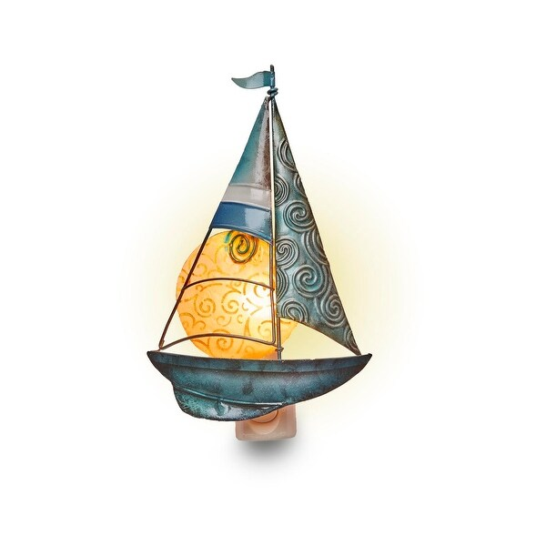 Set of 4 Metallic Green and Blue Sailboat and Moon Nightlights 8""