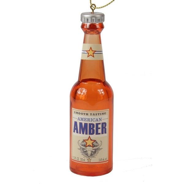 "4.25"" Decorative Bottle of Beer ""American Amber"" Christmas Ornament - ORANGE"